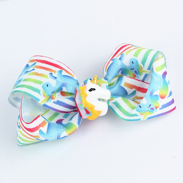 Unicorn Charm Colourful Stripes Bow Hairclip