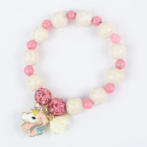 Shiny White Pink Beads Unicorn Charm Bracelet
