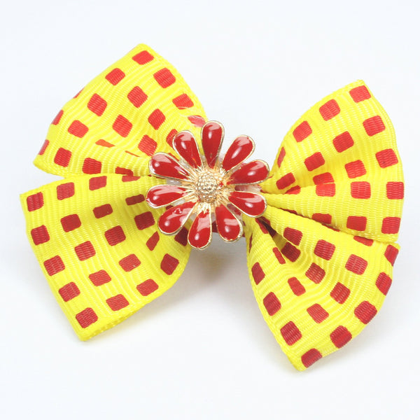 Red Flower Yellow Bow Hairclip