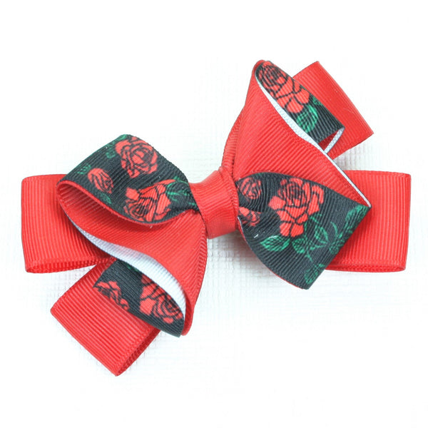 Black & Red Ribbon Bow Hairclip