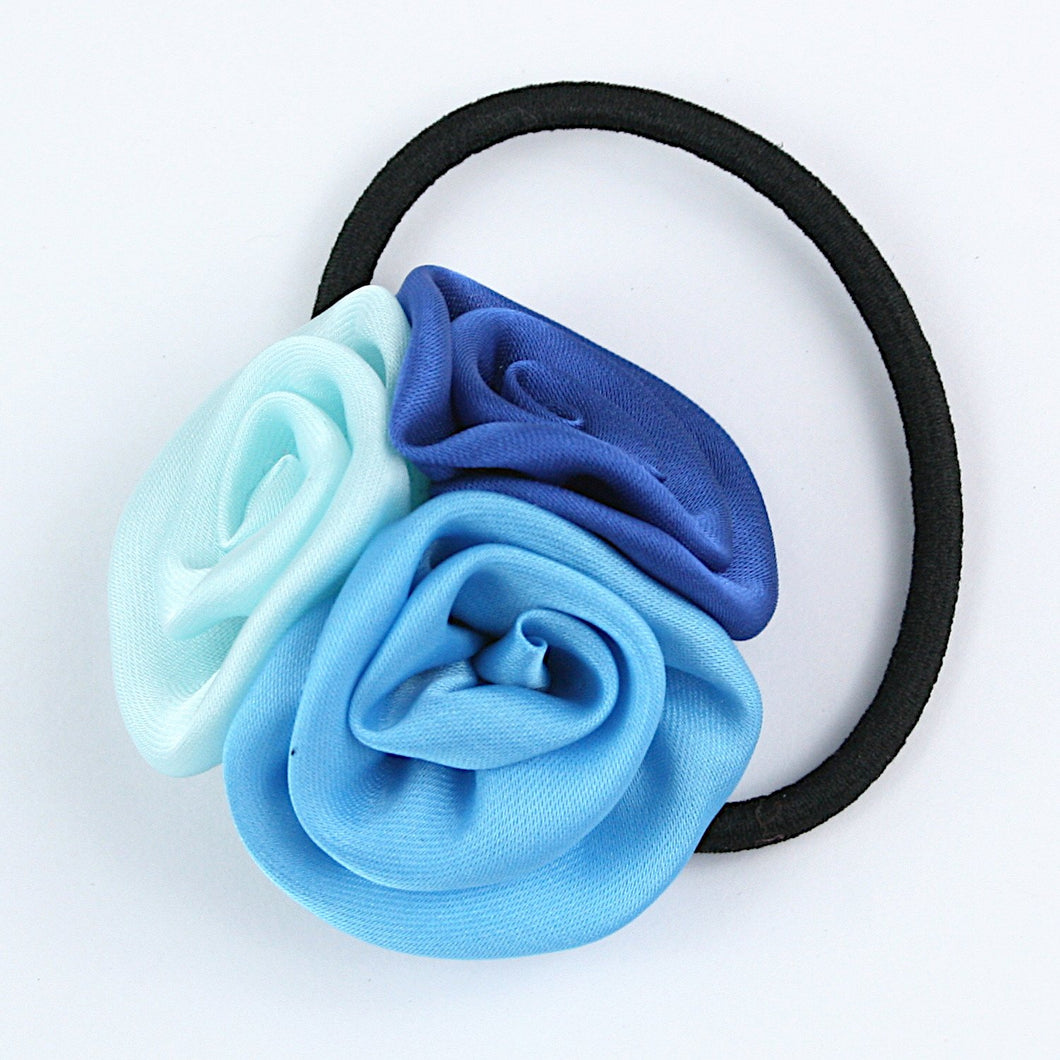 Three Roses Hairtie - Blue