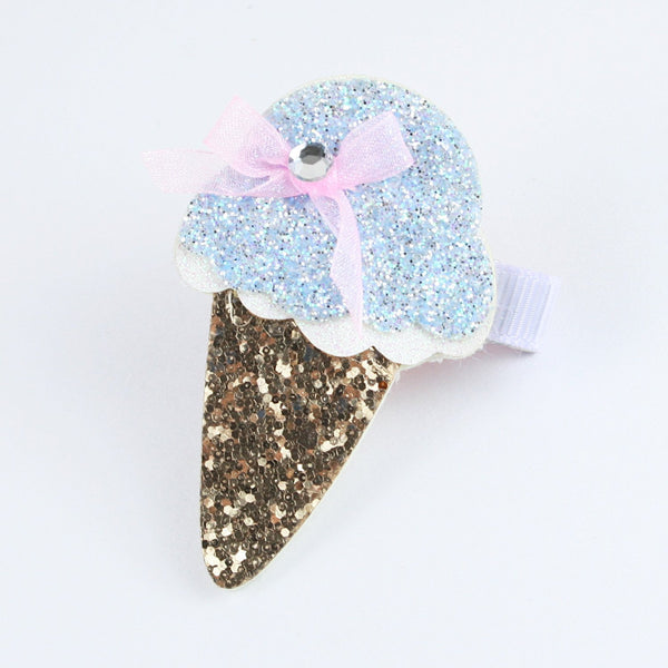 Blue Gold Glitter Ice-Cream Hairclip