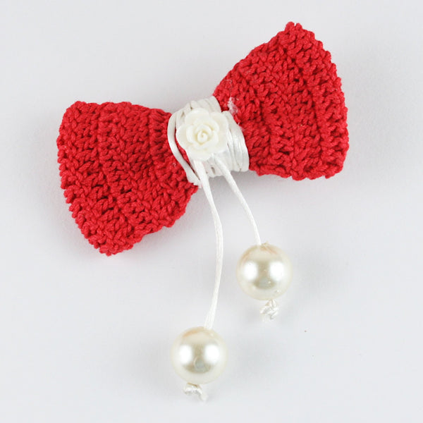 Red Bow Hangings Beads Crochet Hair Clip