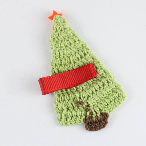 Xmas Tree Crochet Hair Clip