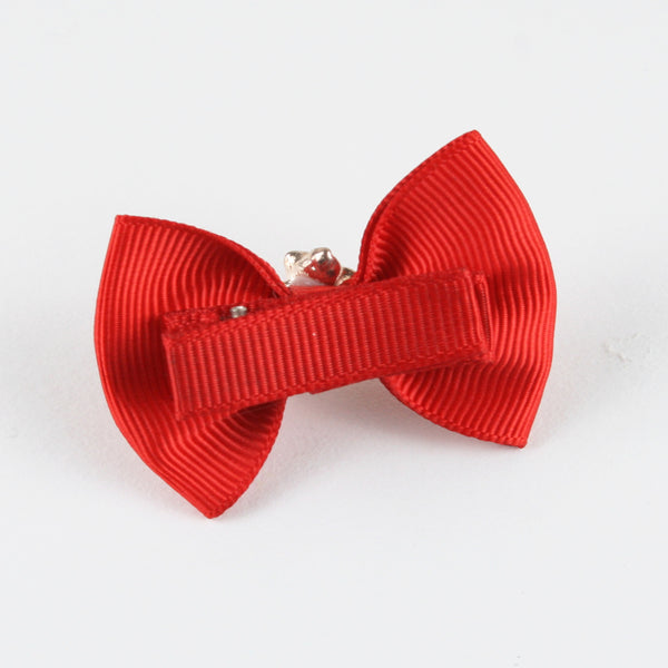 Red Bow White Floral Charm Hair Clip