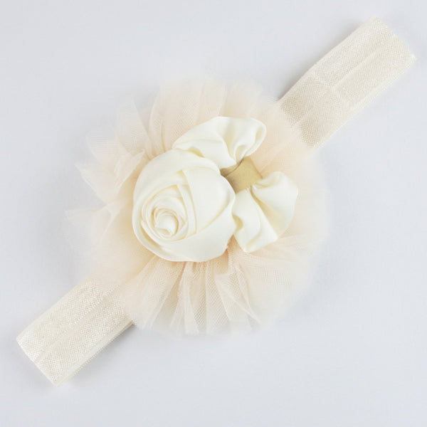 White Flower & Bow Soft Head Band