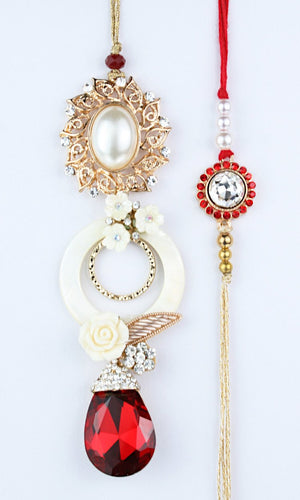 Fancy Pearl Stone with Red Diamond hanging Bhai Bhabhi Rakhi Pair