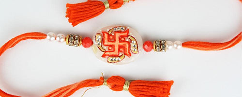 Hand Painted Fancy Swastik Stone Rakhi
