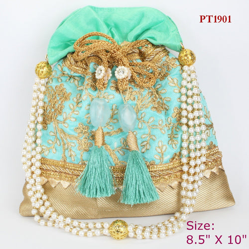 Turquoise Fabric Potli with Moti Handle
