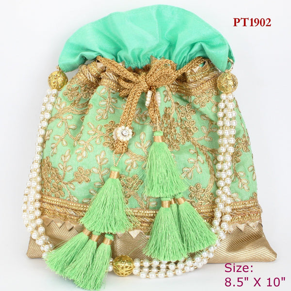 Pista Green Fabric Potli with Moti Handle