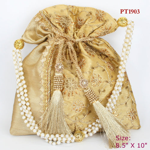 Golden Fabric Potli with Moti Handle