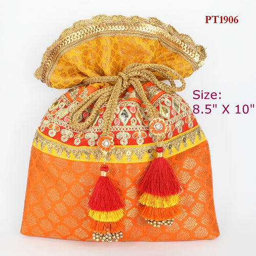 Orange Fabric Potli with Fancy Tassels
