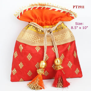 Red Fabric Potli with Fancy Tassels