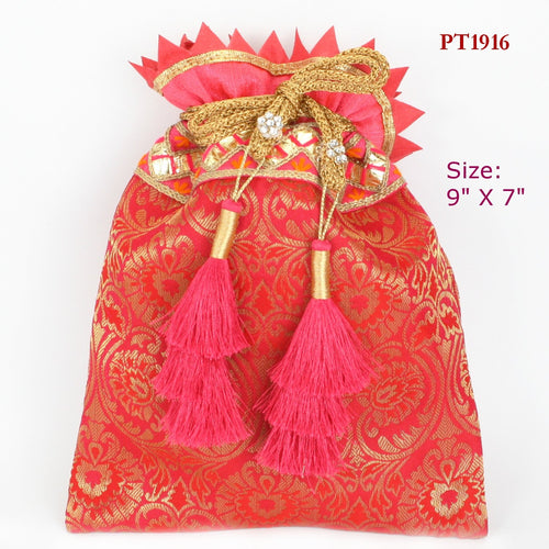 Red Fabric Potli with Multi-Tassel Drawstring