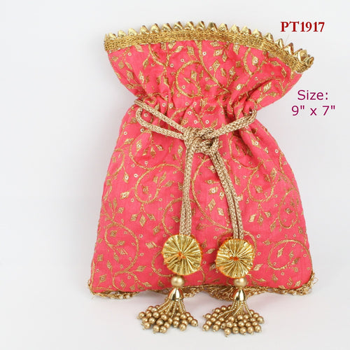 Pink Fabric Potli with Gota Moti Tassels