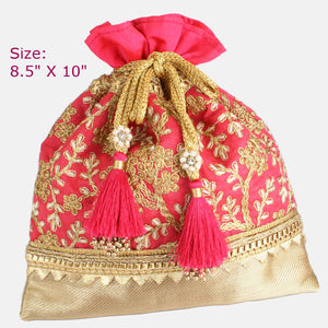 Pink Fabric Potli with Fancy Tassels