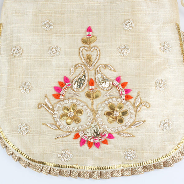 Fancy Cream Potli  - Dupion Silk Fabric with Gota Pati Work - Design #2