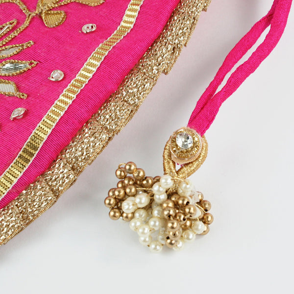 Dupion Silk Fabric with Gota Pati Work - Rani Pink