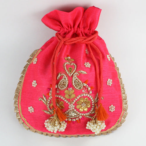 Dupion Silk Fabric with Gota Pati Work - Pink Potli