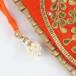 Dupion Silk Fabric with Gota Pati Work - Orange Potli