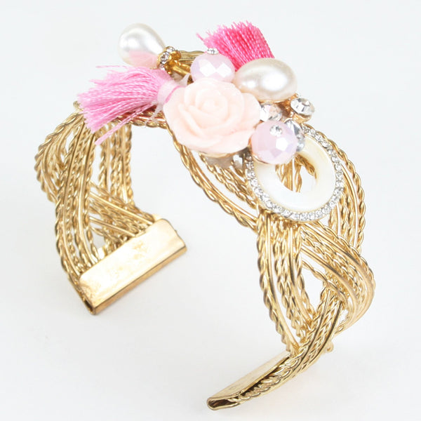 Floral Charms with Tassel on Golden Kada