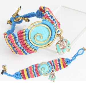 Weaved Bracelet with Elephant Charm
