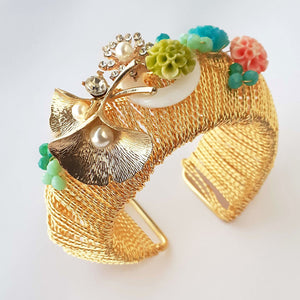 Golden Kada with Floral Charms