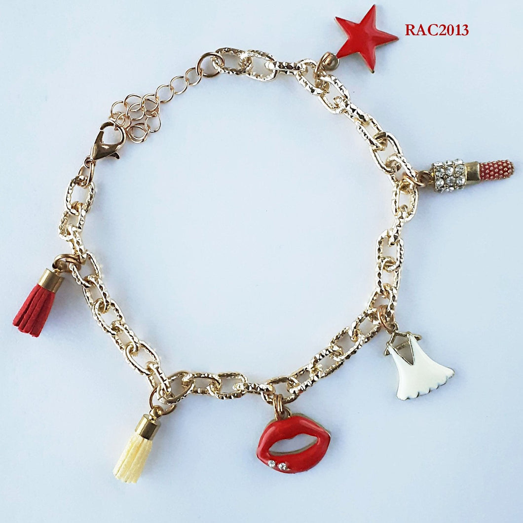Beauty Charms with Mini Leather Tassels Chain Bracelet