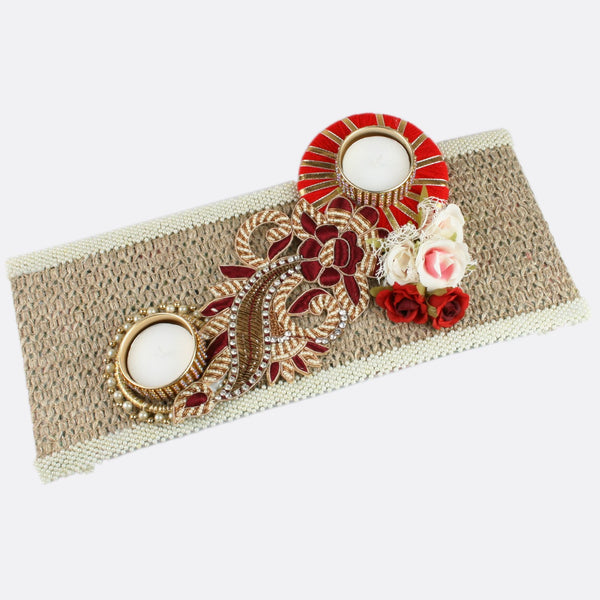 Floral Buti on Jute Double T-Light Holder