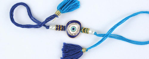 Evil Eye Diamond Rakhi with fancy tassels