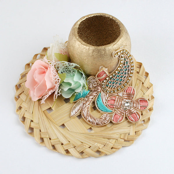 Floral Décor & Buti on Fancy Cane Work T-Light Holder
