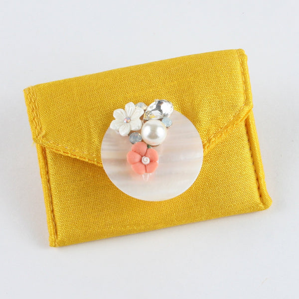 Yellow Fabric Coin Pouch with Florals on Shell Plate