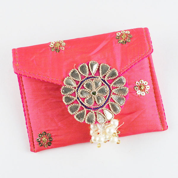 Pink Fabric Coin Pouch with Buti
