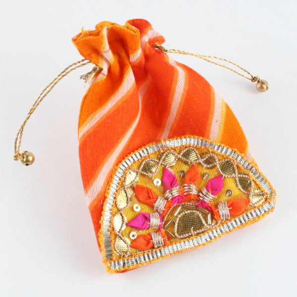 Orange Lehariya Fabric Coin Pouch with Fancy Buti