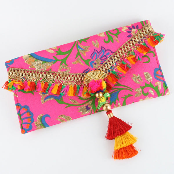 Fancy Pink Printed Fabric Envelope with Parrot Hanging