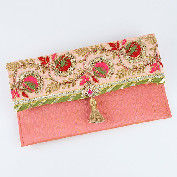 Embroidered Border Fabric Envelope - Pink