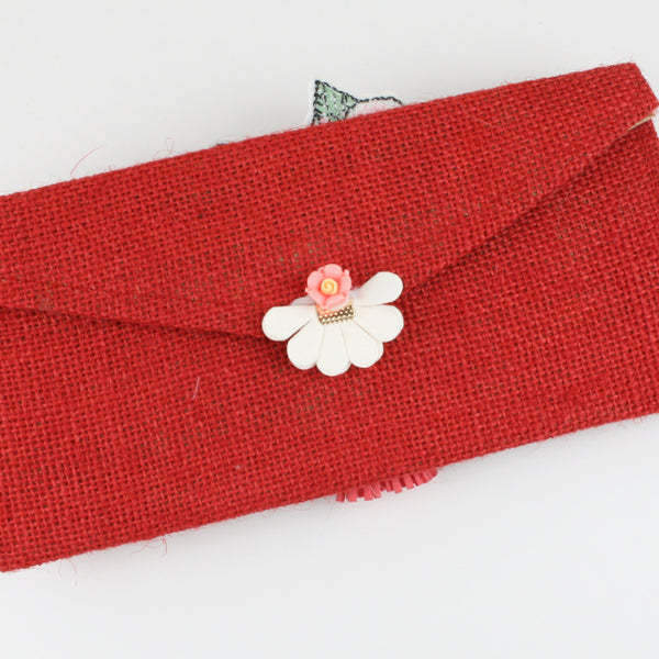 Red Jute Envelope with Fancy Fabric Patch & Leather Tassel