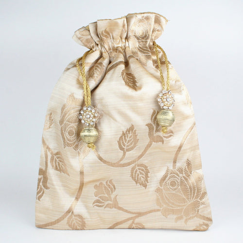 Gold Print Fabric Potli with Fancy Tassel