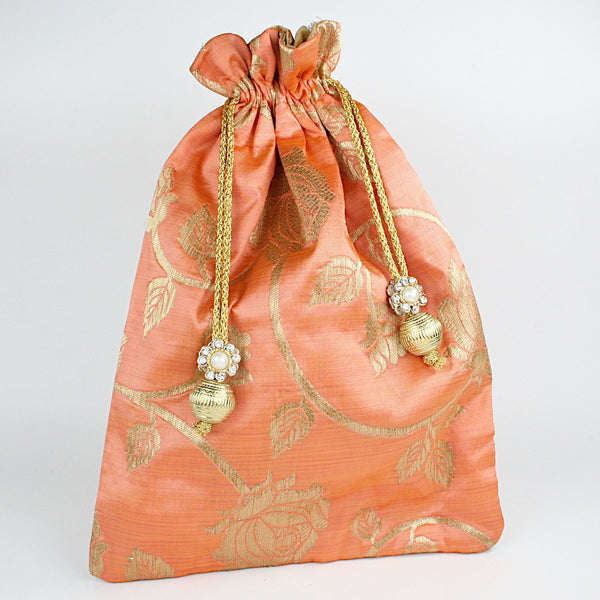 Peach Gold Print Fabric Potli with Fancy Tassel