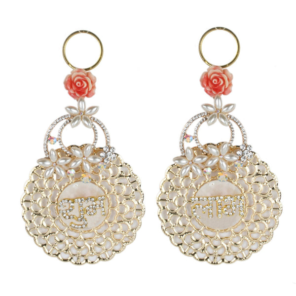 Shubh Labh Pair with Fancy Diamond Stone