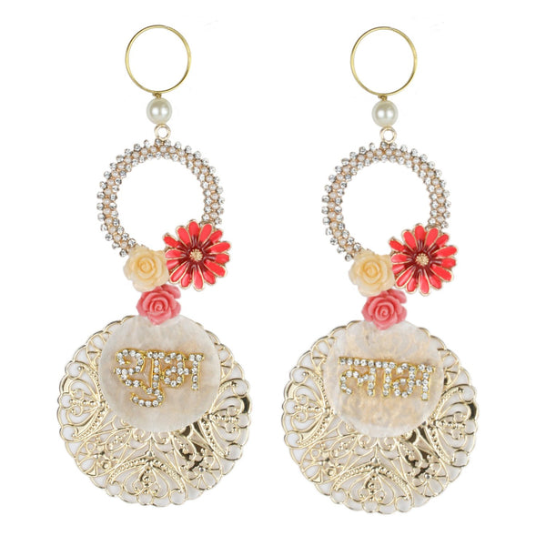Shubh Labh on Shell with Floral Charms
