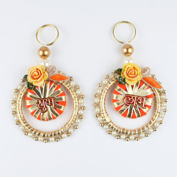 Shubh Labh Pair with Floral Charm on Gota Ring