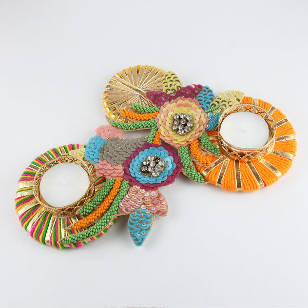 Colourful Buti on Gota Rings Double T-Lite Holder