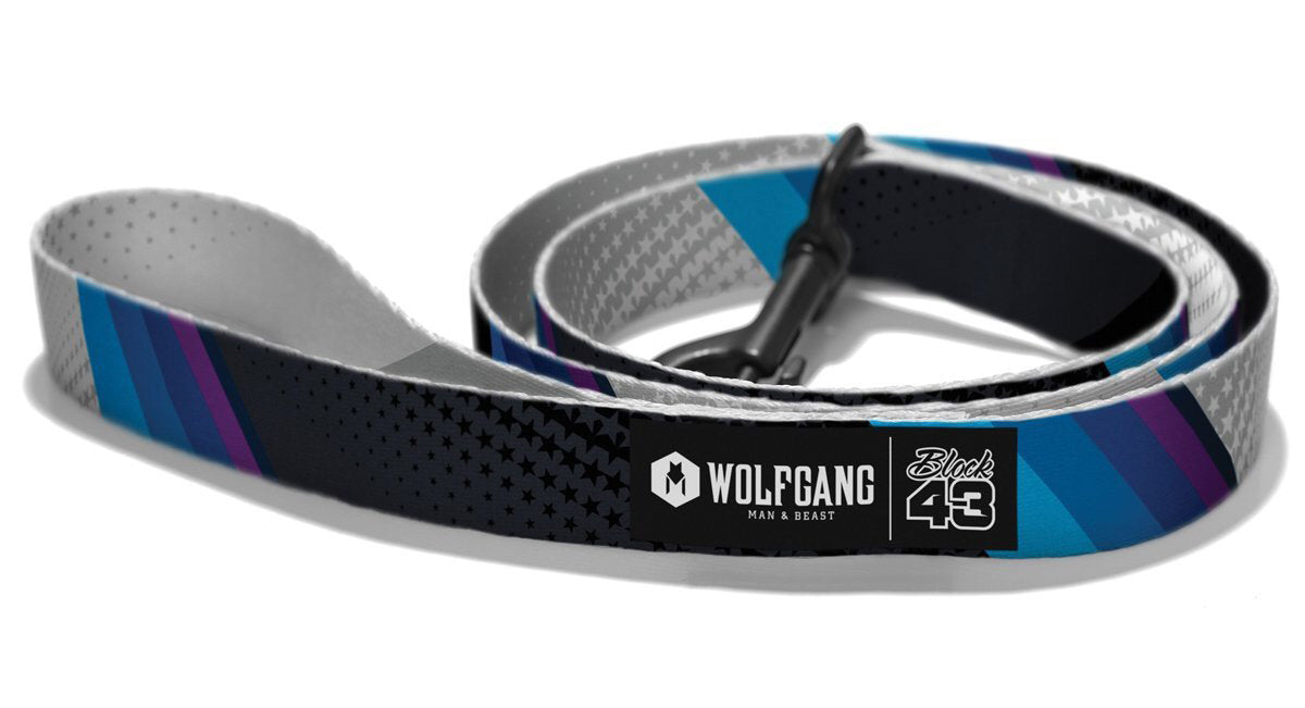 A Wolfgang brand leash curled up.