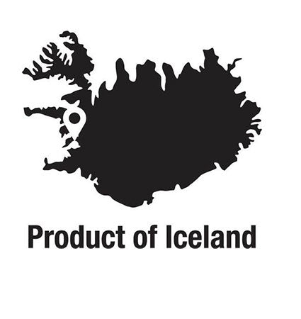Black and white image of Iceland with text that reads Product of Iceland.