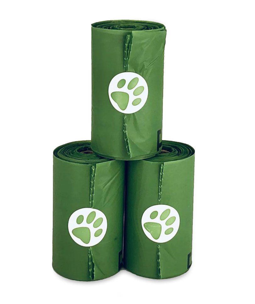 3 rolls of Pawsitive Solutions dog waste clean up bags.