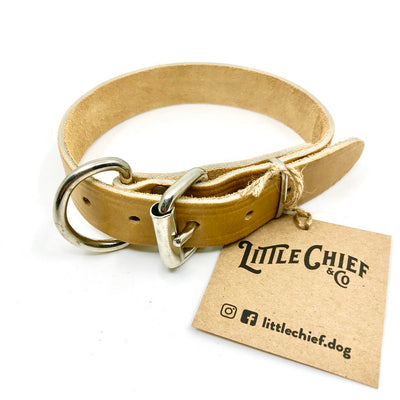 "Mocha Single Stitch Leather Collar - 1/2"" width"