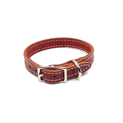 Single Stitch Leather Collar - Red