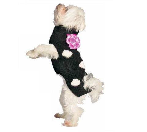Chilly Dog Polka-Dot with Flower Sweater