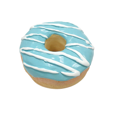 FouFIT 100% Natural Latex Donut Chew Toy With Squeaker - Blue